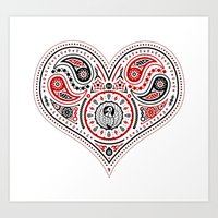83 Drops - Hearts (Red & Black) Art Print