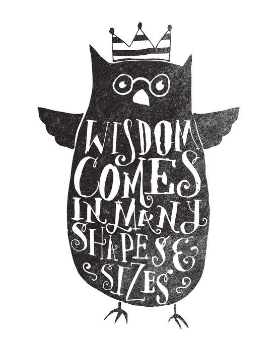 WISDOM COMES IN MANY SHAPES & SIZES Art Print