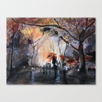 Autumn rain - watercolor Canvas Print