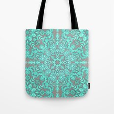Mint Green & Grey Folk Art Pattern Tote Bag