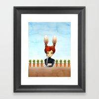 The Rabbit Girl With Pla… Framed Art Print