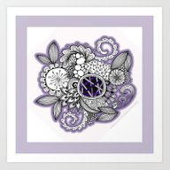 Art Print featuring Pretty In Purple Zentang… by Vermont Greetings