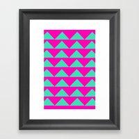 Neon Pink & Aqua Framed Art Print