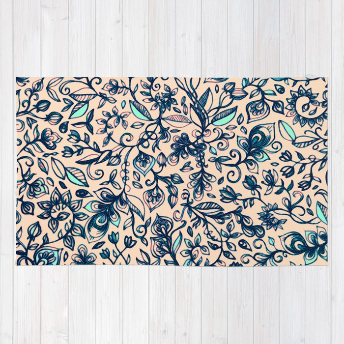 Floral Doodle Pattern In Cream & Navy Blue