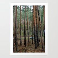Forest & Car Art Print