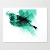 Splatter Bird Blue Canvas Print