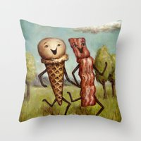 Bacon Loves Ice Cream Throw Pillow