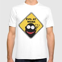 Evil at Work Mens Fitted Tee White SMALL