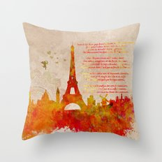 Paris skyline Romantic Throw Pillow