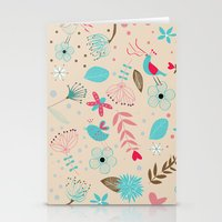 Singing birds in flowers Stationery Cards