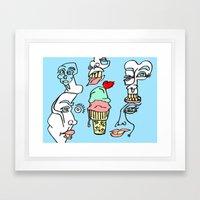 Ice Cream Dumb Heart Framed Art Print