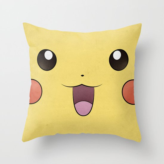 Pikachu - Minimal Pokemon Poster Throw Pillow