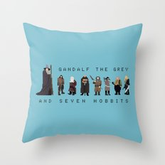 gandalf the grey and seven hobbits Throw Pillow