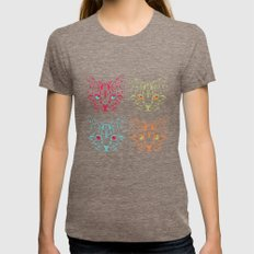 CAT FANTASY Womens Fitted Tee Tri-Coffee SMALL