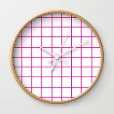 Grid (Magenta/White) Wall Clock