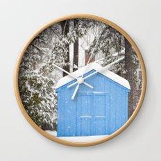 Blue Snow House  Wall Clock