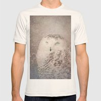 Snowy Owl in the snow Mens Fitted Tee Natural SMALL