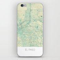El Paso Map Blue Vintage iPhone & iPod Skin