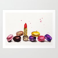 Lipstick and Macaroon's  Art Print