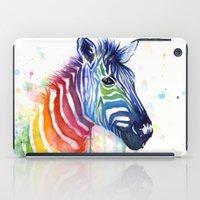 Zebra Rainbow Watercolor iPad Case