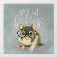 A Small Mouse With Glass… Canvas Print