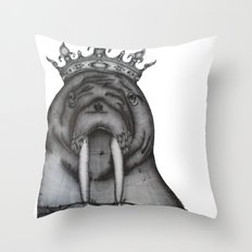 The Walrus King Throw Pillow