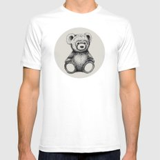 Teddy Bear Mens Fitted Tee SMALL White