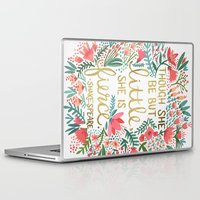 watercolor Laptop & iPad Skins featuring Little & Fierce by Cat Coquillette