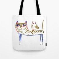 cat and owl, cat art, cat print, cat illustration, cats, cat, owl print,  Tote Bag