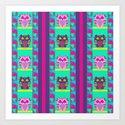 Sleepy Owls and Geometric Patterns Art Print