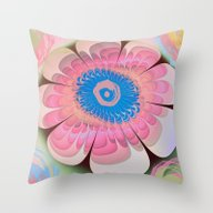 Artistic Fantasy Flower Throw Pillow