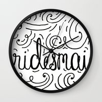 Bridesmaid, hand-lettered, great as a gift!! Wall Clock