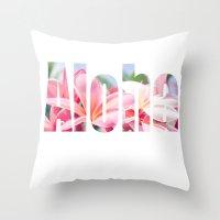Aloha white Throw Pillow