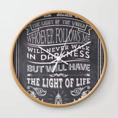 Typographic Motivational Bible Verses - John 8:12 Wall Clock