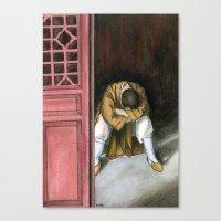 Praying Chinese Monk Canvas Print
