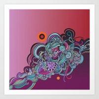 Detailed Diagonal Tangle… Art Print
