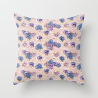 Hydrangeas on Blush with white French script and birds Throw Pillow