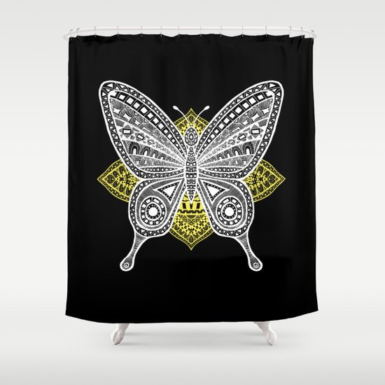 The Butterfly Watercolor Illustration Shower Curtain by Haidi Shabrina
