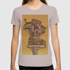 Wooden house at sky Womens Fitted Tee Cinder SMALL