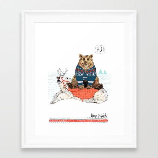 Bear Sleigh Framed Art Print