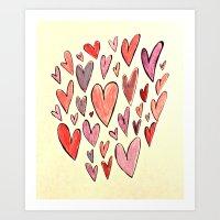 Hearts Hearts Hearts Art Print