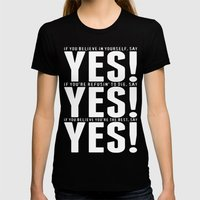 YES! YES! YES! Womens Fitted Tee Black SMALL