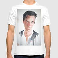 Sherlock, Benedict Cumberbatch Mens Fitted Tee White SMALL