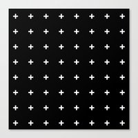 White Plus On Black /// … Canvas Print