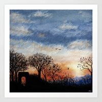 Winter Silhouette Sunset Art Print