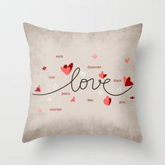 Love, Butterfly Hearts & Text Unique Valentine Throw Pillow