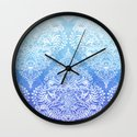 Out of the Blue - White Lace Doodle in Ombre Aqua and Cobalt Wall Clock