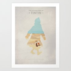 The Adventures Of Tintin - The Secret Of the Unicorn - Minimal poster Art Print