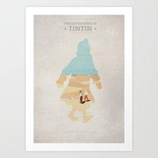 The Adventures Of Tintin - The Secret Of the Unicorn - Minimal poster Art Print
