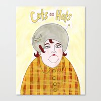 Cats as Hats - Lady in Plaid Canvas Print